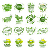 Set of vector logos for natural products Stock Photos