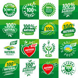 Set vector logos for natural products Royalty Free Stock Image