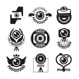Set of vector logos for professional photographer Royalty Free Stock Photos