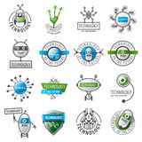 Set of vector logos robots and new technologies. Large set of vector logos robots and new technologies Stock Photo