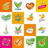 Set of vector logos vitamins. Large set of vector logos vitamins royalty free illustration