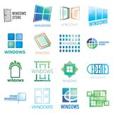 Set of vector logos of Windows, doors vector illustration