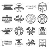 Set of vector logotypes elements, labels, badges and silhouettes for blacksmith Royalty Free Stock Photo