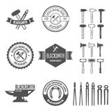 Set of vector logotypes elements, labels, badges and silhouettes for blacksmith Royalty Free Stock Images