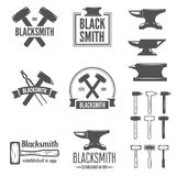 Set of vector logotypes elements, labels, badges and silhouettes for blacksmith Royalty Free Stock Photography