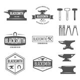 Set of vector logotypes elements, labels, badges and silhouettes for blacksmith Royalty Free Stock Image