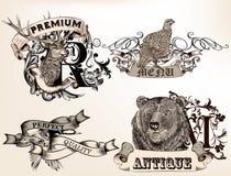 Set of vector logotypes with hand drawn wild animals Stock Photos