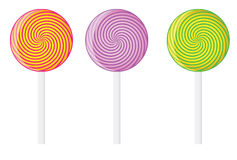 Set of vector lollipop. Swirl lollipop in red, violet and green color Royalty Free Stock Images