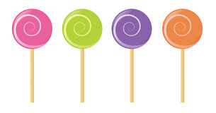 Set of vector lollipop. Set of four vector lollipop in different colors Royalty Free Stock Photography