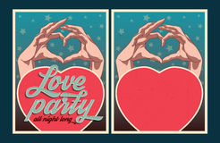 Set of vector Love party posters. Set of Love party posters. Vector illustration and invitation template Stock Photography