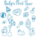 Set of 15 vector lovely editable hand drawn objects for baby care. Baby food, baby toys and other Stock Photography