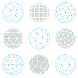 Set of vector low poly spherical objects with connected lines an Royalty Free Stock Photography