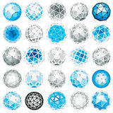 Set of vector low poly spherical objects with connected lines an. D dots, 3d geometric wireframe shapes. Perspective trigonometry facet orbs created with Stock Photos