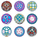 Set of vector low poly spherical objects with connected lines an Royalty Free Stock Image