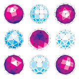 Set of vector low poly spherical objects  Stock Photos