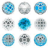 Set of vector low poly spherical objects with connected lines  Royalty Free Stock Photos
