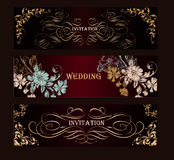 Set of vector luxury templates for menu logos or boutique design Royalty Free Stock Photography