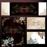 Set of vector luxury templates for menu logos or boutique design Stock Image