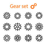 Set of vector machine gears or cogwheels. Royalty Free Stock Image