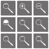 Set of vector magnifying glasses and zoom icons Stock Photo