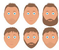 Set of vector man faces with different hairstyle Stock Image