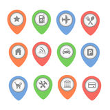 Set of vector map pointers with icons  on Royalty Free Stock Photo