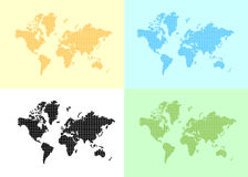 Set of vector maps of the world Stock Photography