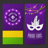Set of vector mardi gras brochures Royalty Free Stock Photo