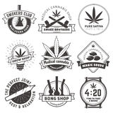 Set of vector marijuana smoking badges. Stock Photos