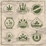 Set of vector marijuana smoking badges. Stock Photography
