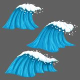 Broad and narrow colorful waves with isolated on grey background. royalty free illustration
