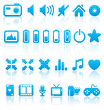 Set of vector media icons. Set of  multimedia web buttons, icons. Audio, video. photo, battery, volume and other Stock Image
