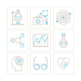 Set of vector medical icons and concepts in mono thin line style Stock Image