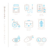 Set of vector medical icons and concepts in mono thin line style Royalty Free Stock Photos