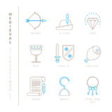 Set of vector medieval icons and concepts in mono thin line style Royalty Free Stock Photography