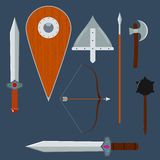 Set of vector medieval weapons. Royalty Free Stock Image