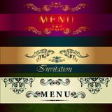 Set of vector menu cards in vintage style Royalty Free Stock Photos