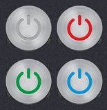 Set of Vector Metal Power Button Stock Photos