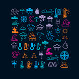 Set of vector meteorology retro signs made in pixel art style. C Royalty Free Stock Photo