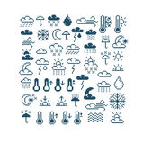 Set of vector meteorology retro signs made in pixel art style. C Stock Photos