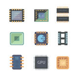 Set of  vector microchip icons on white background. Royalty Free Stock Image
