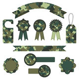 Set of vector military camouflage labels in green colors Royalty Free Stock Photos