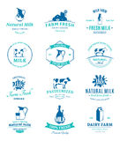Set of Vector Milk Labels and Design Elements Royalty Free Stock Photos