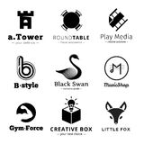 Set of vector minimalistic black and white logos. Stock Images