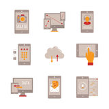 Set of vector mobile tech icons and concepts in flat style Royalty Free Stock Photography