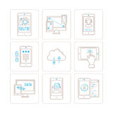 Set of vector mobile tech icons and concepts in mono thin line style Royalty Free Stock Image
