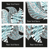 Set of vector modern posters with amazing feathers Royalty Free Stock Image