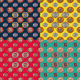 Set of vector modern seamless colorful geometry patterns, color abstract geometric background, pillow multicolored print royalty free illustration