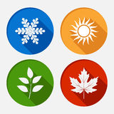 Set of vector modern season colored icons Stock Photos