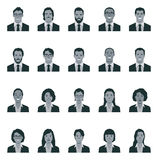 Set of vector monochrome avatars of men and women. In business suits illustration style low poly Stock Photography